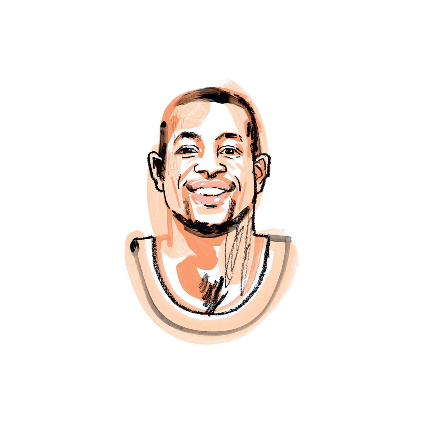 "Portrait illustration of Andre Iguodala ""Iggy"" by Jonny Ruzzo for Slack's Channels magazine"