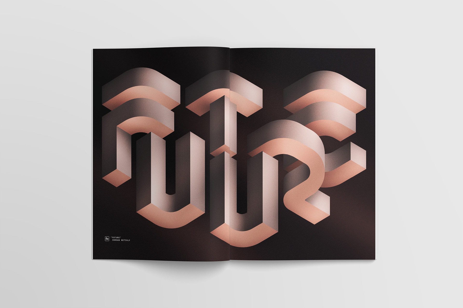 """""""Future"""" of work lettering by Jordan Metcalf, custom typography design and full spread artwork commissioned by Slack for Channels Magazine."""
