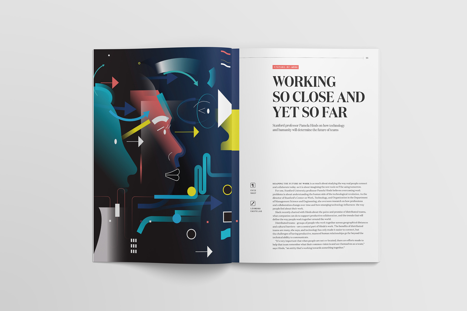 Leandro Castelao's custom article illustration for a piece about remote and distributed work teams commissioned by Slack for Channels magazine