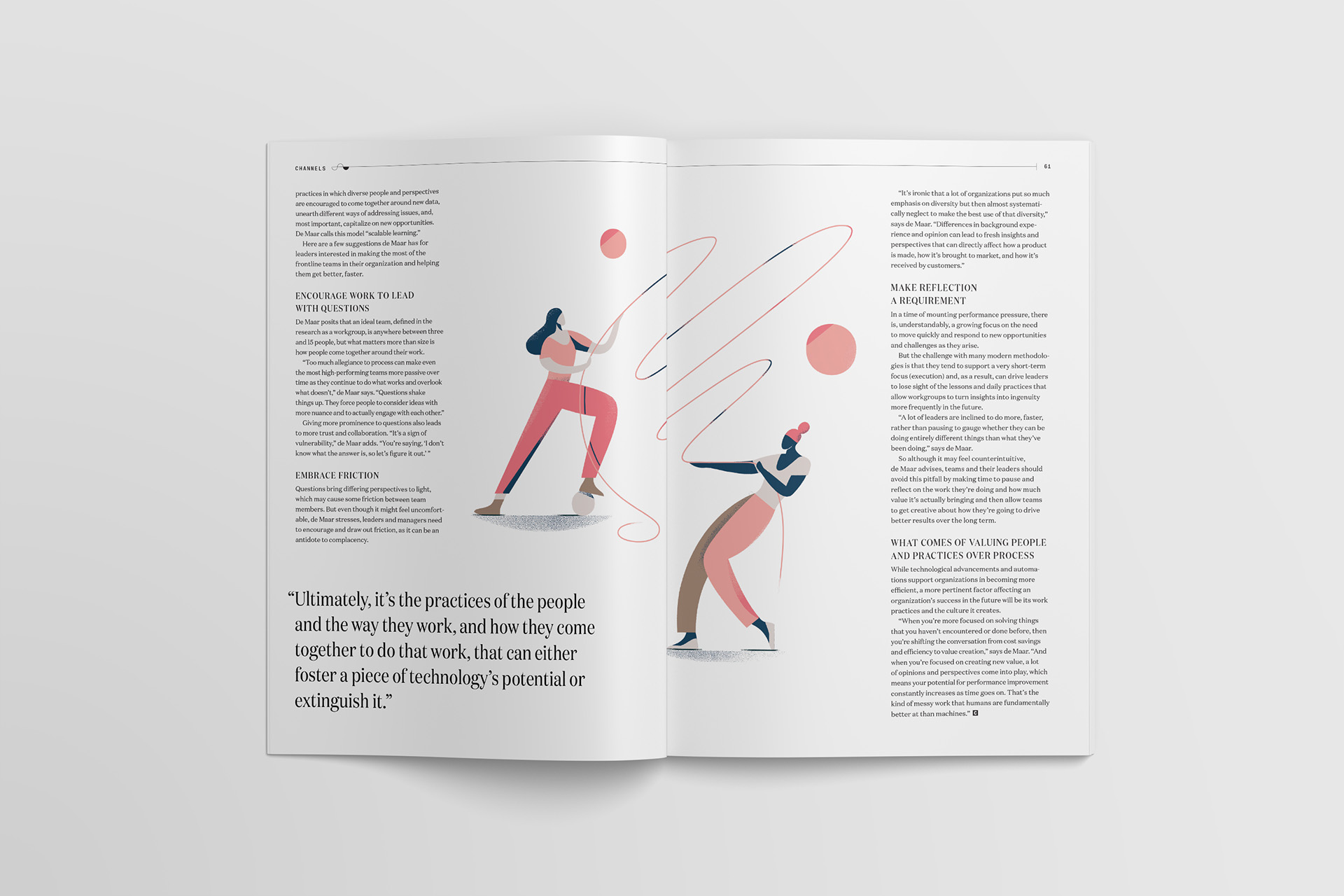 Layout design of an article in Channels magazine by Slack features two people pulling a tension rope across the spread illustrated by Timo Kuilder