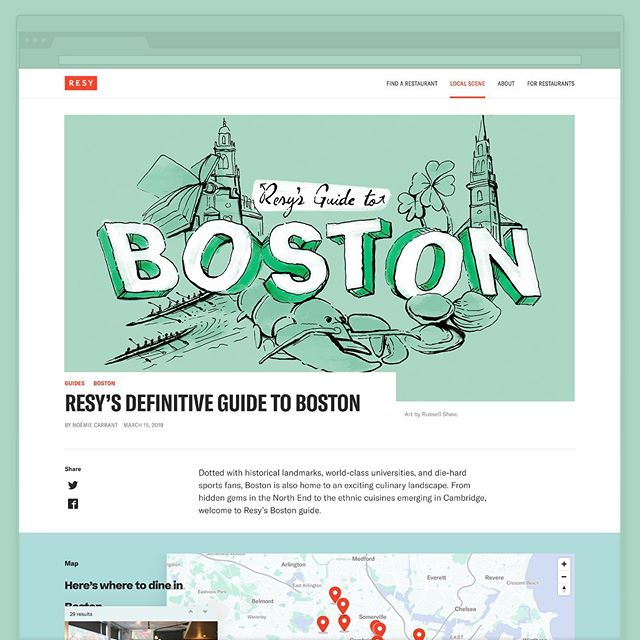 (2/2) And here is the Boston artwork for Resy's Definitive Guide to Boston! This one definitely has me craving a lobster roll... Enjoyed drawing these two pieces for the team. Thanks for partnering on it! If you're looking for spots in Chicago and Boston, check out their lists. Cheers!