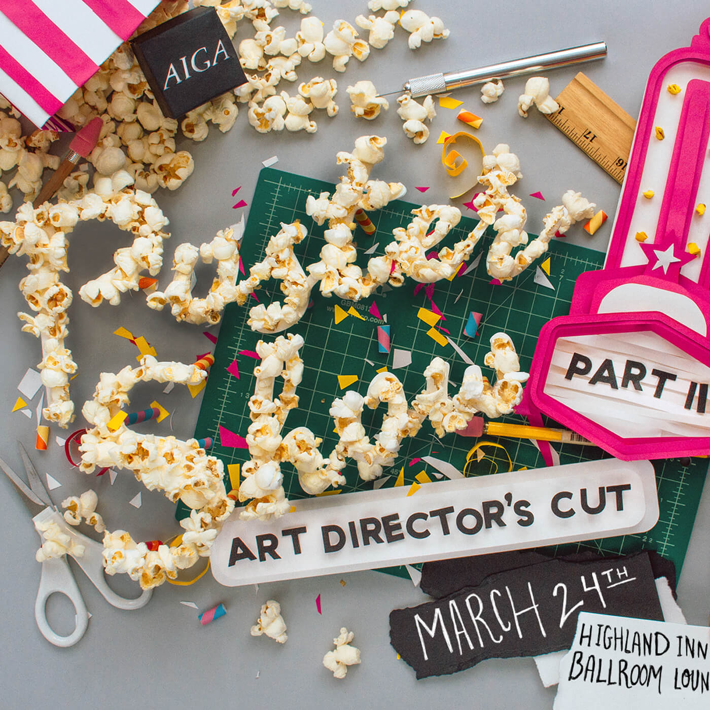 "AIGA Atlanta Poster Show - Promotional artwork and call for submissions for AIGA Atlanta's showcase of movie-inspired poster designs, ""Poster Show Part II: Art Director's Cut.""View Project →"