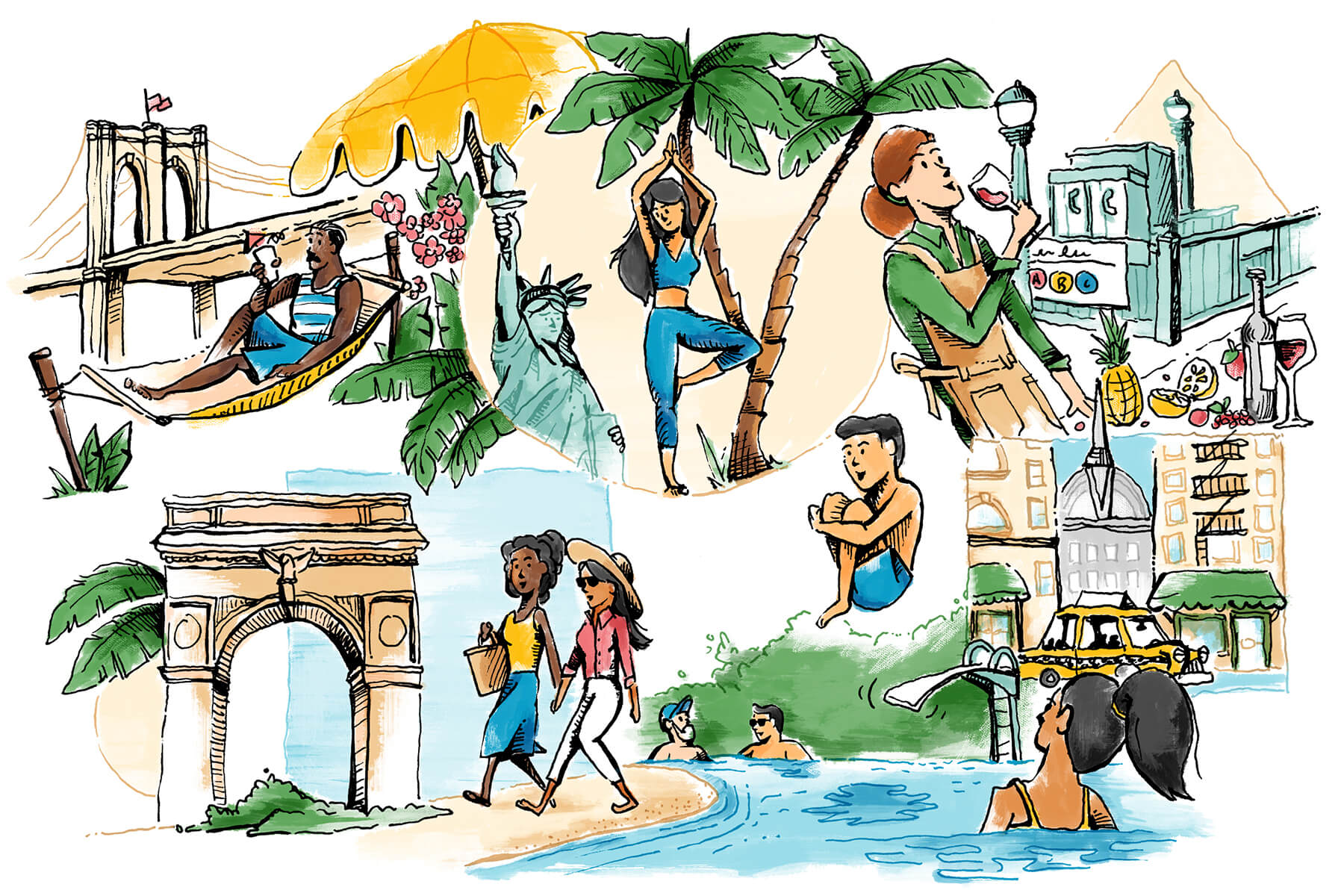 Illustrated New Yorkers from different neighborhoods going on Caribbean vacations with NYC settings in the background