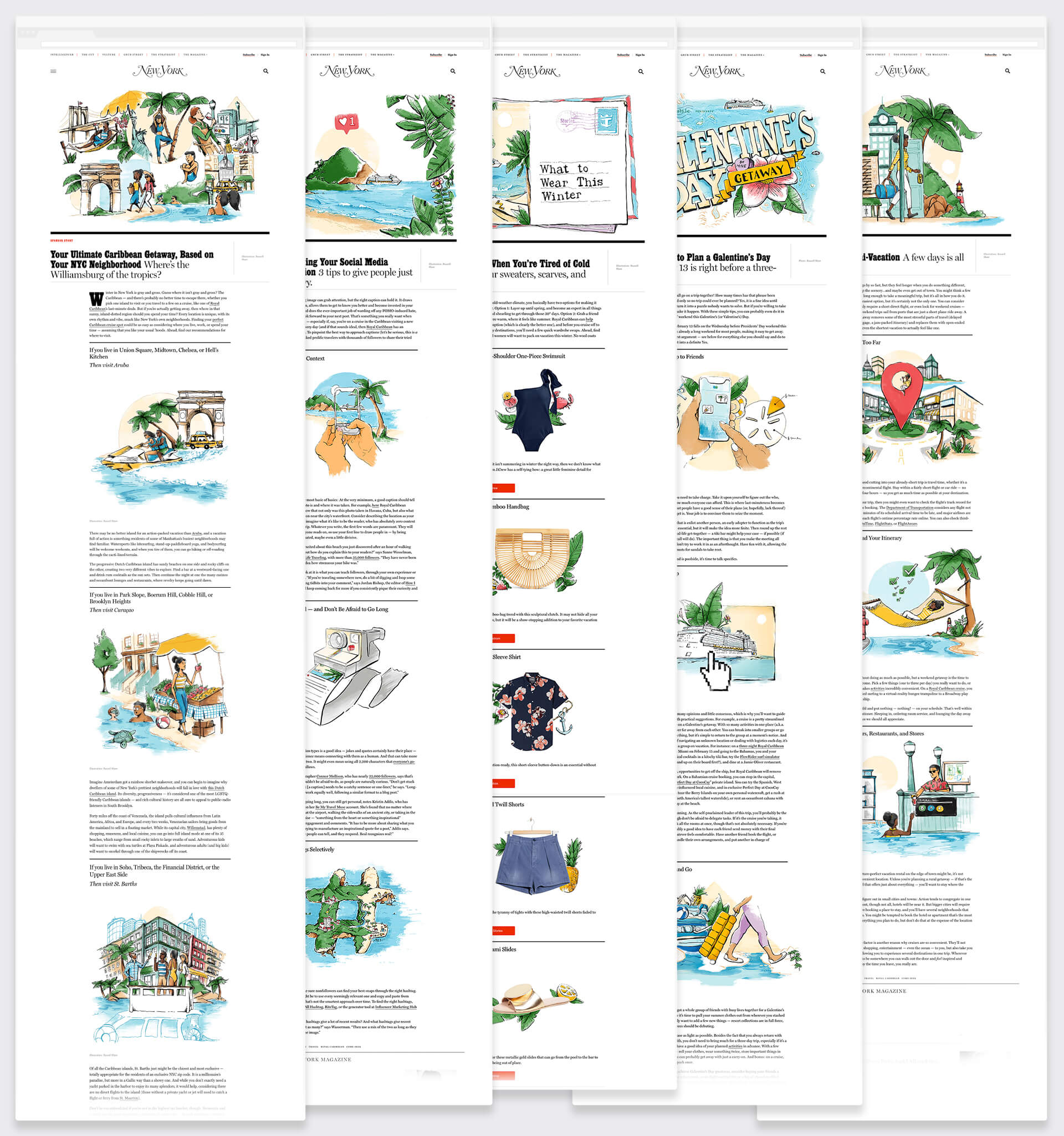Series of 5 New York magazine articles with editorial illustrations of New Yorkers going on Caribbean vacations in the winter
