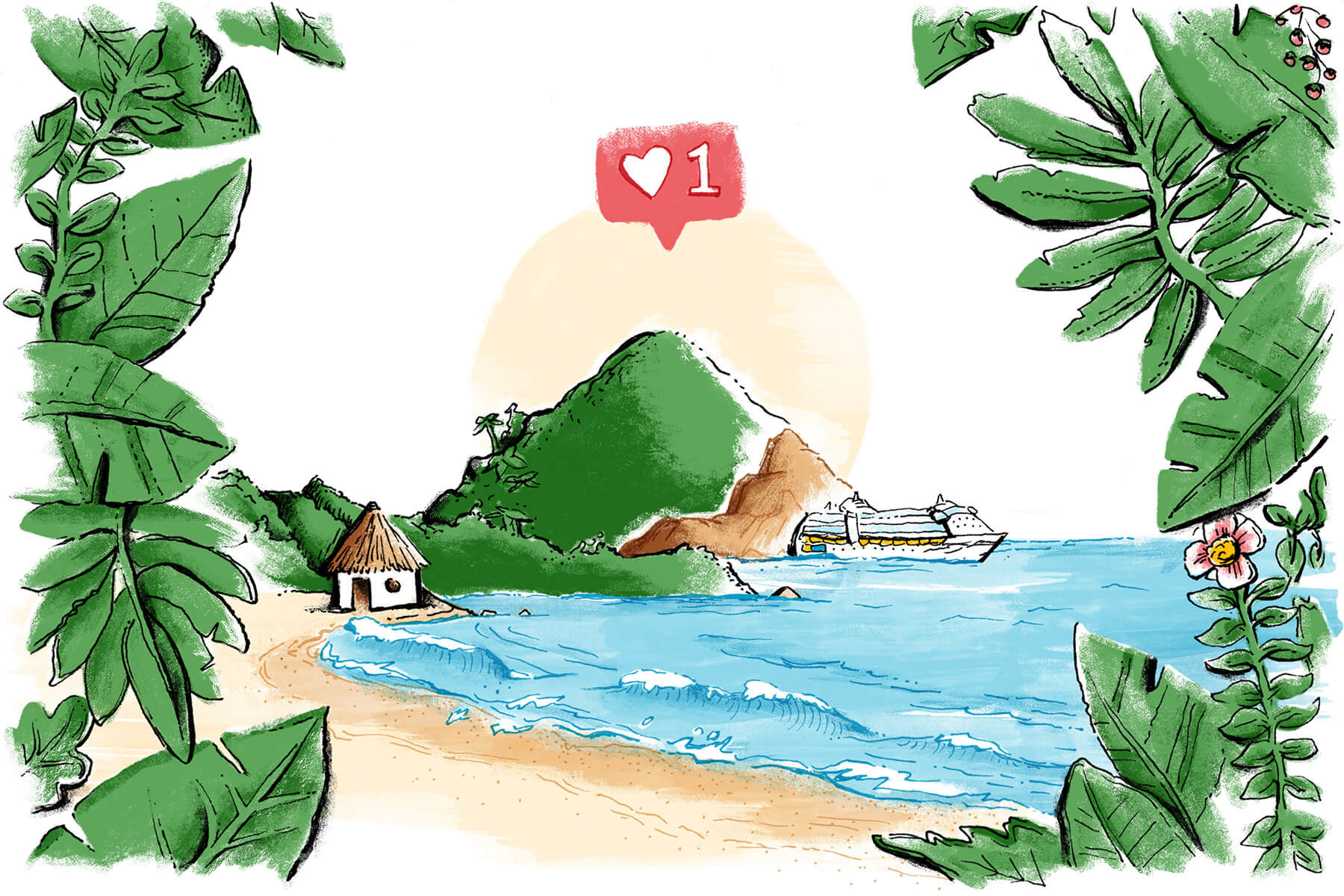 Textured water color illustration of tropical beach and mountain with an Instagram Like button above it in the sky