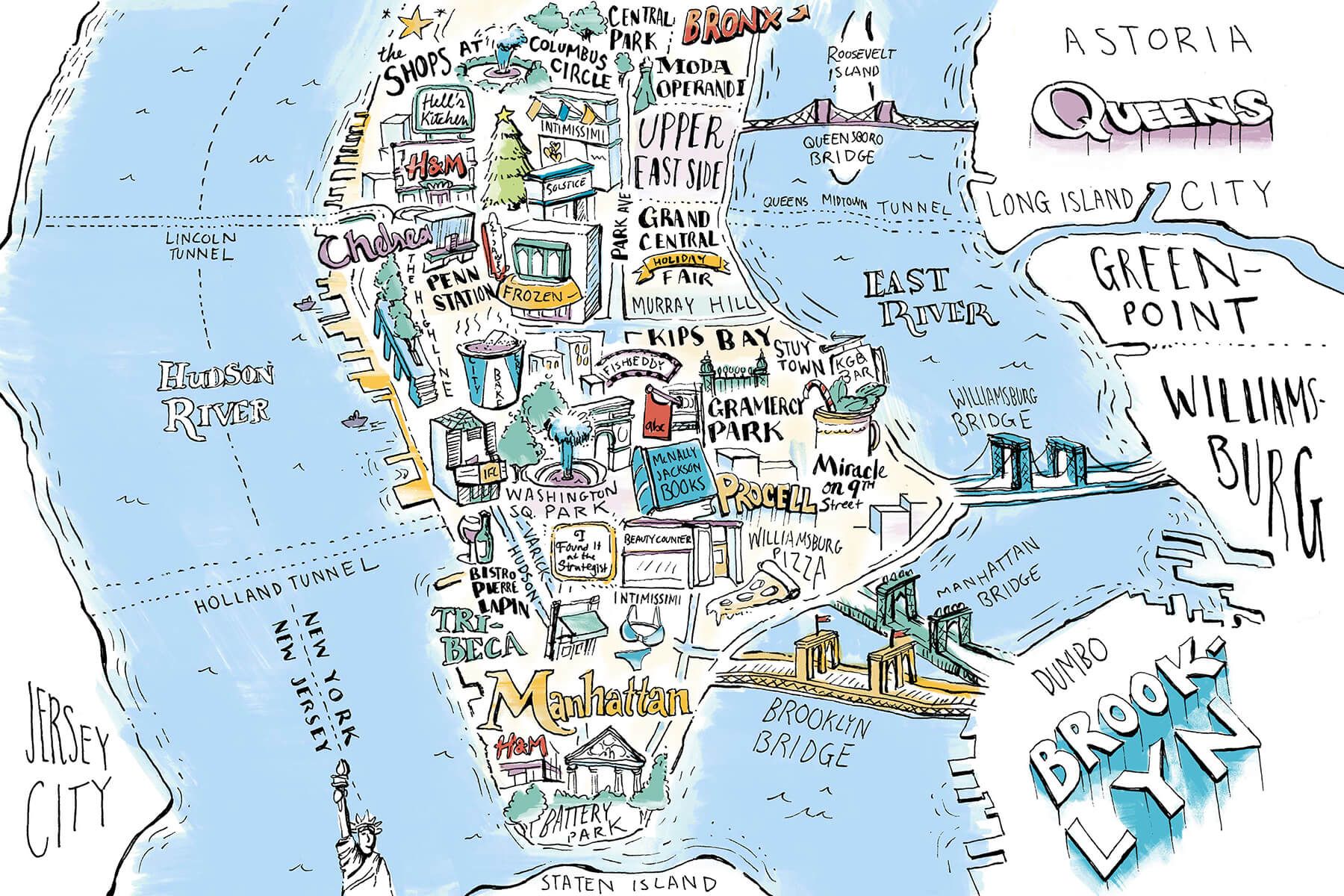 Hand drawn map of Manhattan and surrounding New York City features shops and restaurants for New York magazine