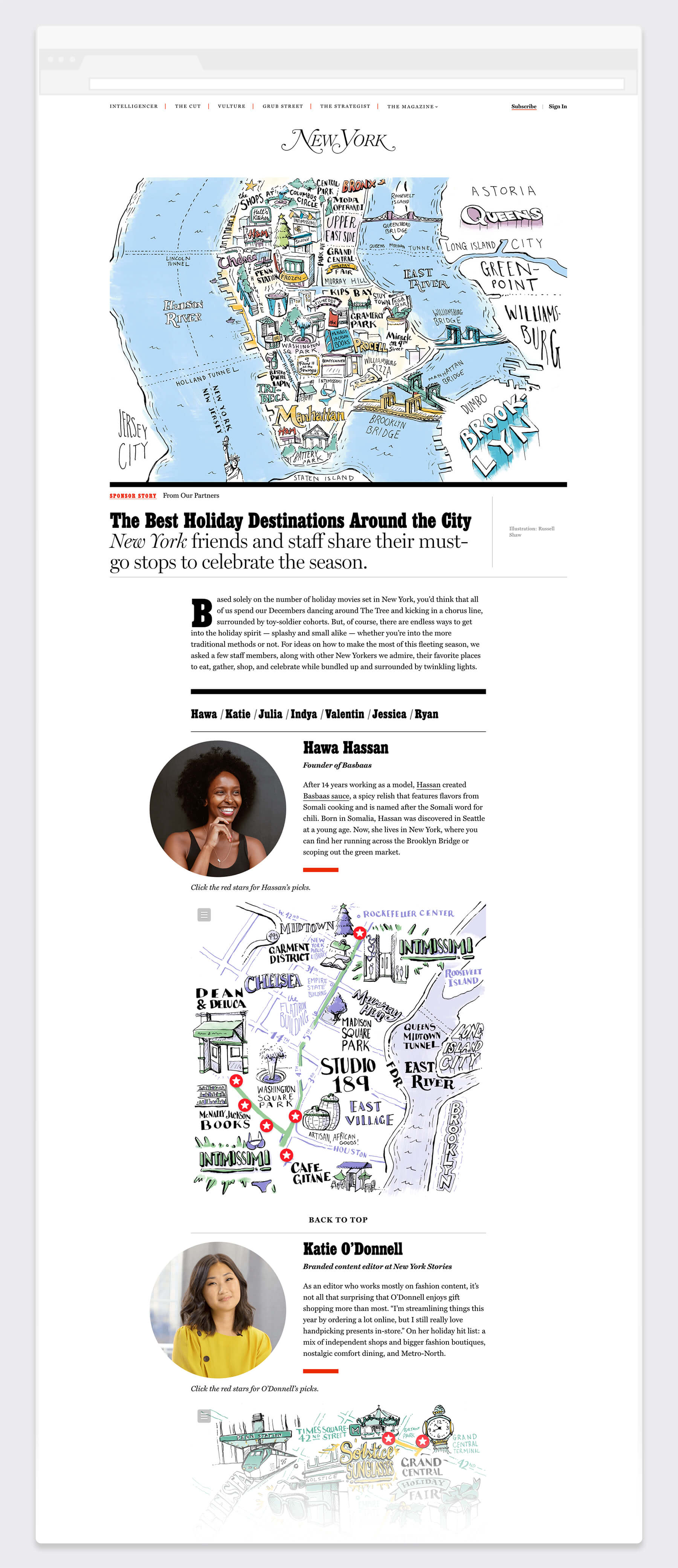 Website mockup of New York magazine article on best holiday shopping guides to the city featuring map editorial illustrations