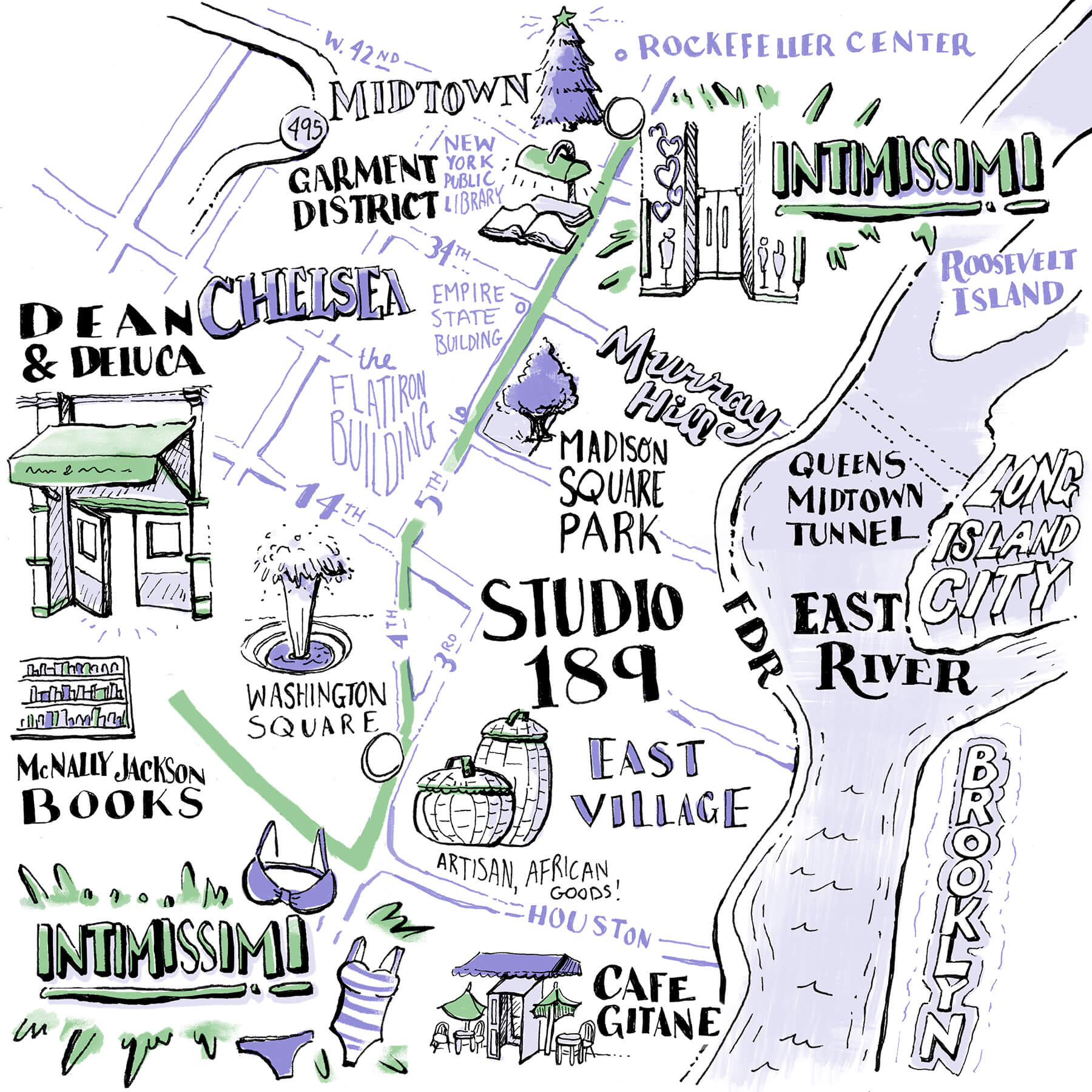 Hawa Hassan's Map - Dean & Deluca, Intimissimi, Cafe Gitane, Studio 189, McNally Jackson Books and more.