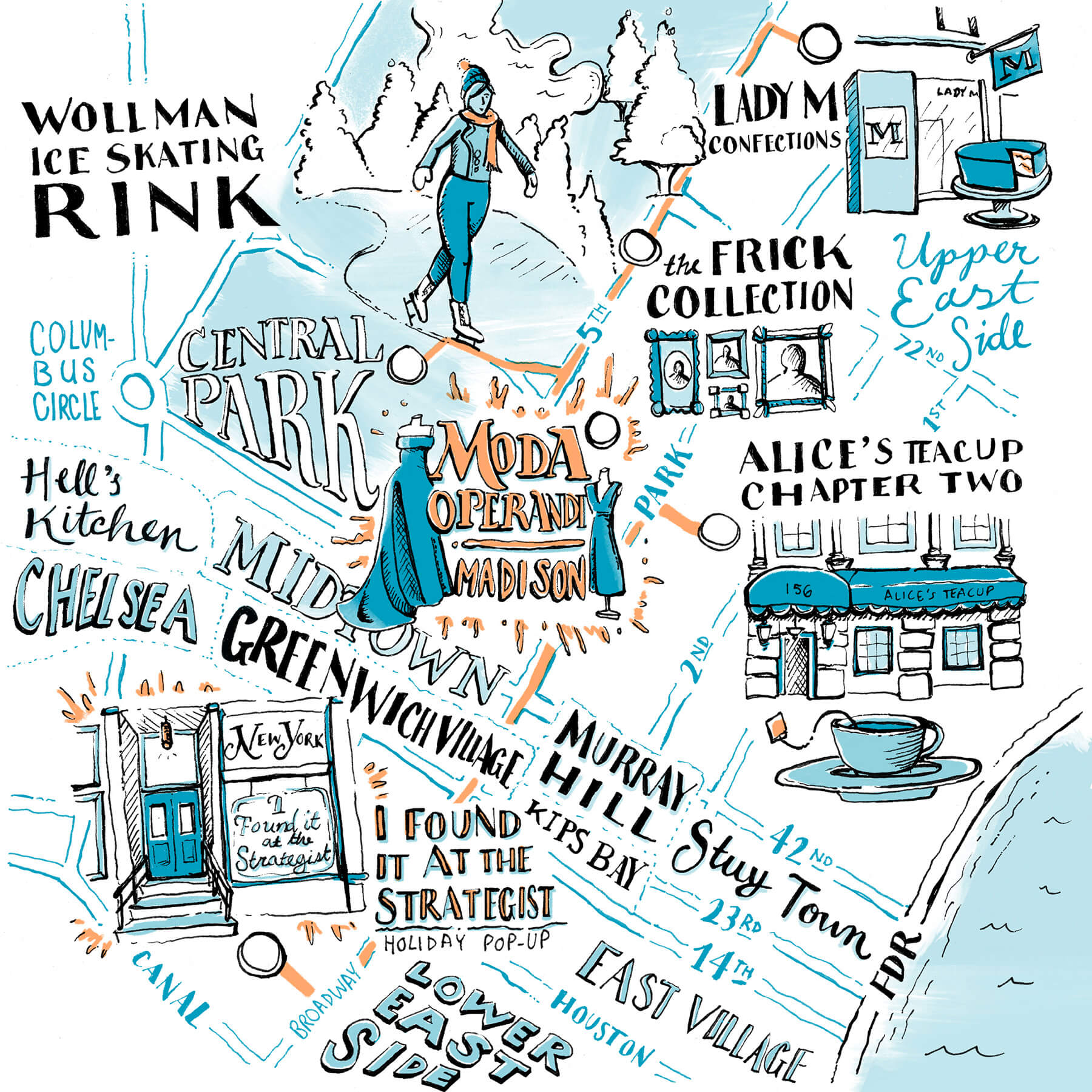 Indya Brown's Map - Ice skating in Central Park, Moda Operandi, Lady M Confections, the Frick Collection, Alice's Teacup Chapter Two, I Found It At The Strategist Holiday Pop-Up, and more.