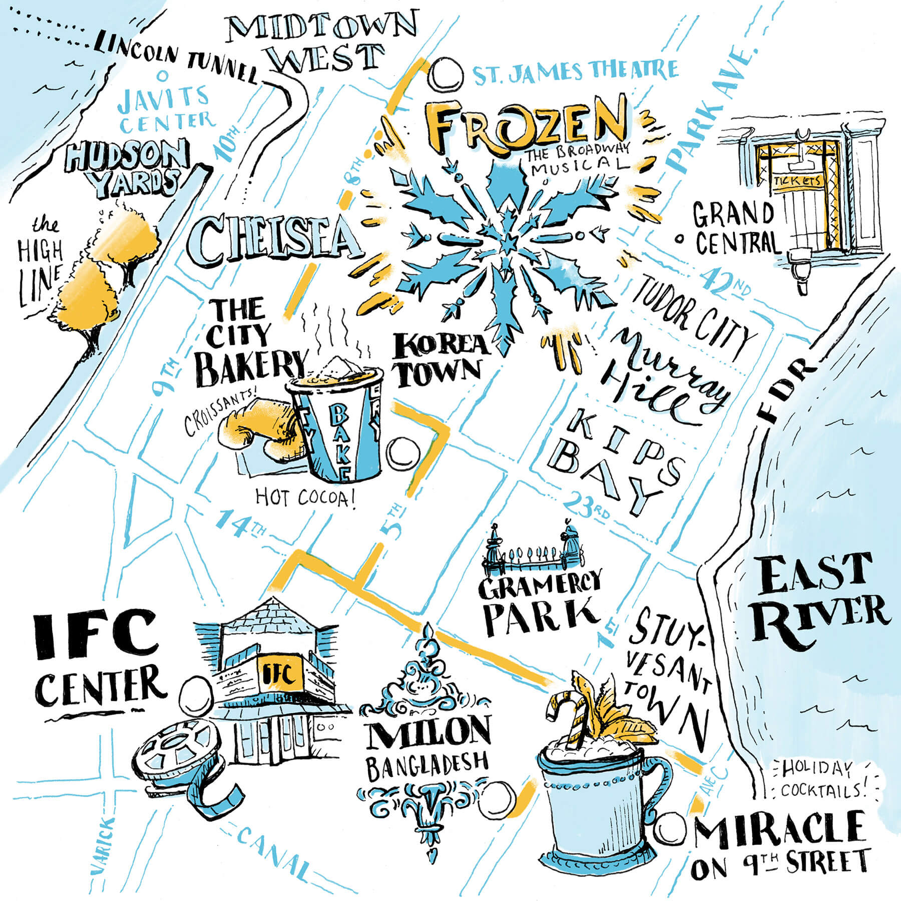 Ryan Carlos' Map - IFC Center, Milon Bangladesh, Miracle on 9th Street, Frozen the Broadway Musical, The City Bakery, and more.