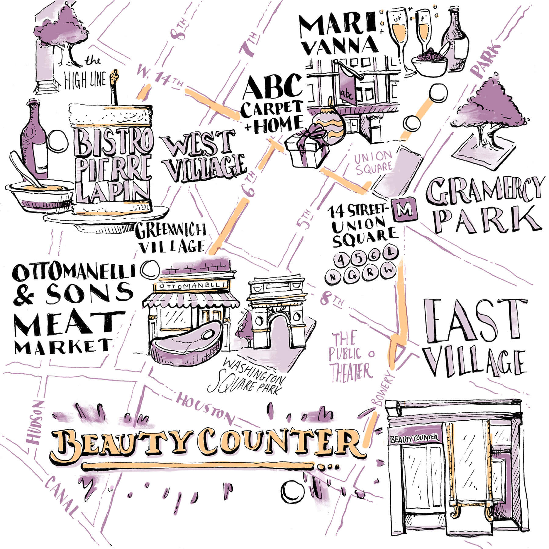 Julia Grossman's Map - Bistro Pierre Lapin, Mari Vanna, Beautycounter, Ottomanelli & Sons Meat Market, ABC Carpet + Home, and more.