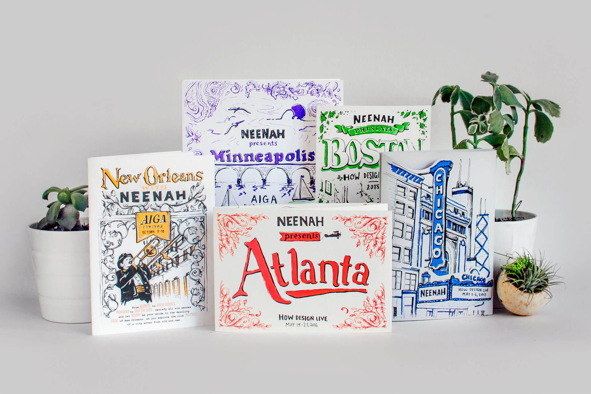 Illustrated maps and city guides of New York, Chicago, Boston, Atlanta, Minneapolis, and New Orleans