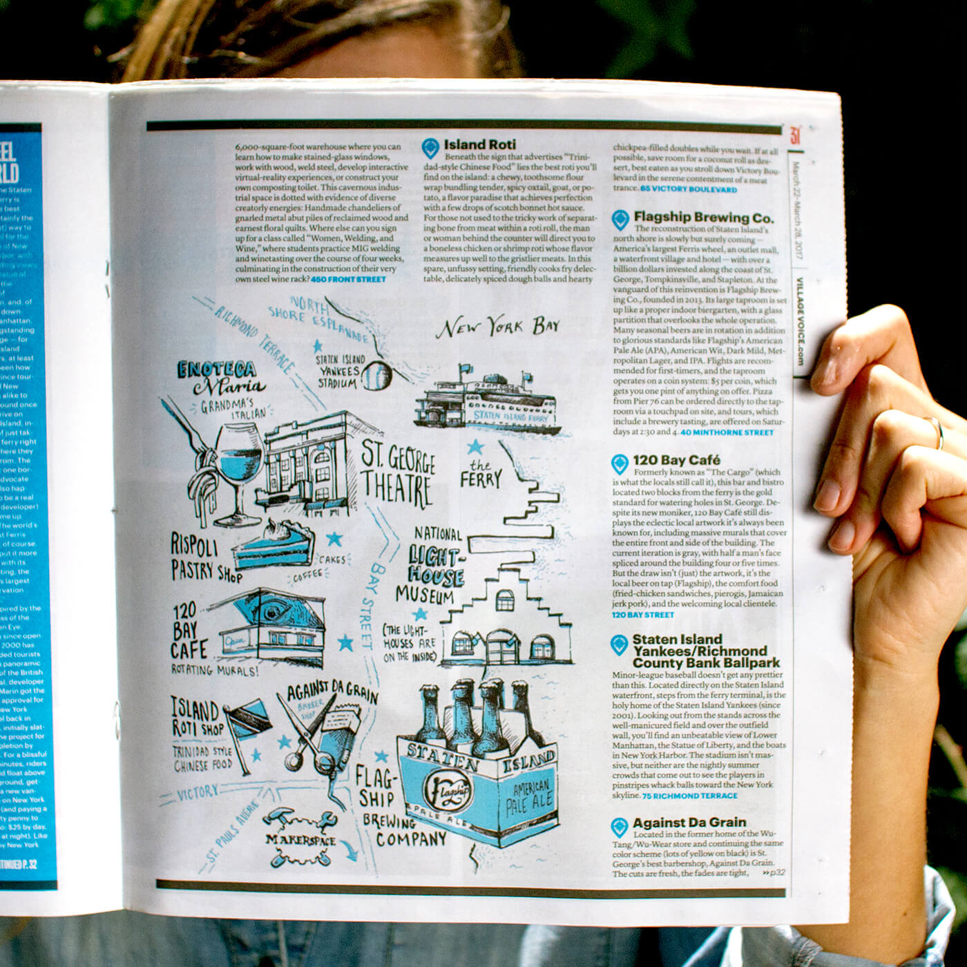 """The Village Voice, """"Five Boroughs, No Waiting"""" - Illustrated maps for Village Voice's cover story """"New York by New Yorkers: A Local's Guide to the City's Neighborhoods from Art & Activism to Bodegas & Biryani."""""""