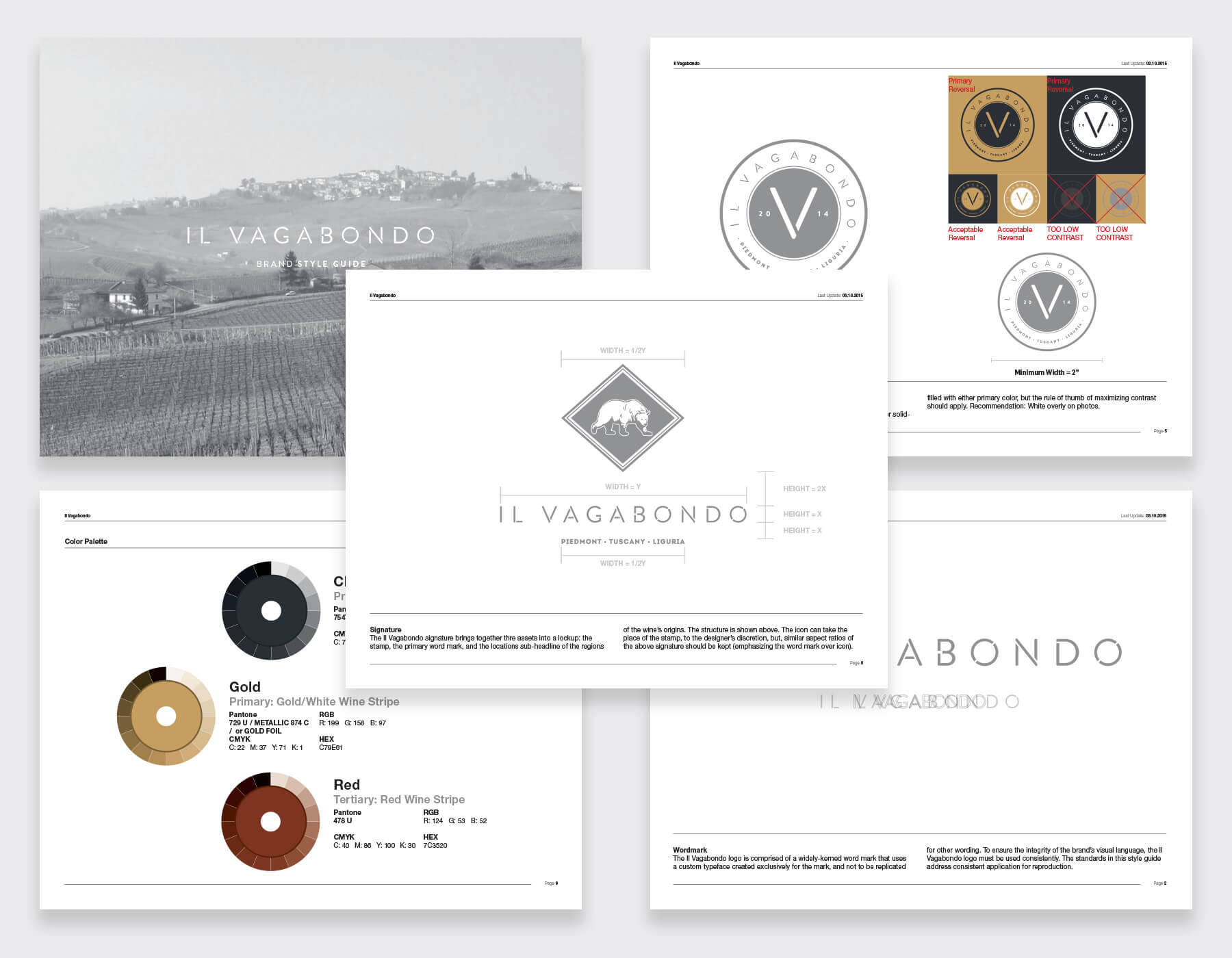 Brand style guidelines for Il Vagabondo, showing guides for color and logo use