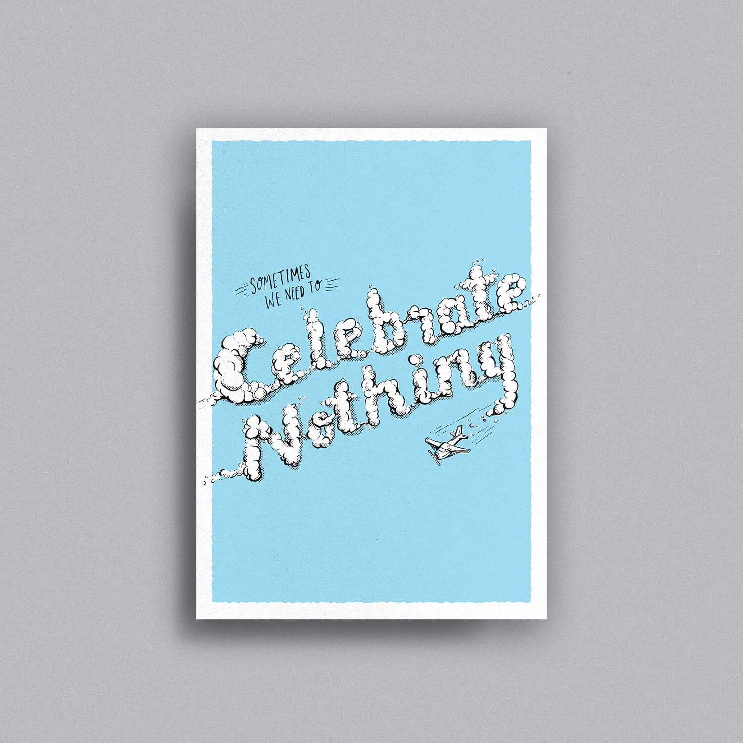 """Hand drawn skywriting plane writes """"Celebrate Nothing"""" across the front of this greeting card"""