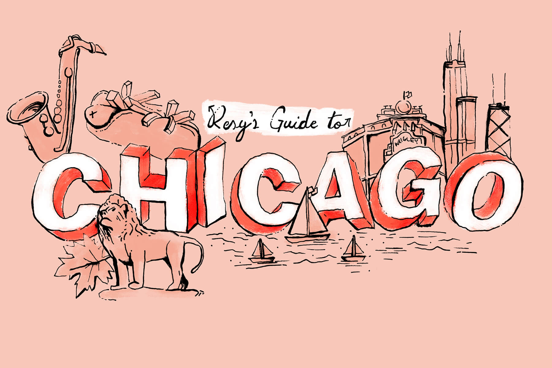 3D letters spell Chicago for this City Guide illustration, surrounded by sailboats hot dogs wrigley field and sears tower in pink and red