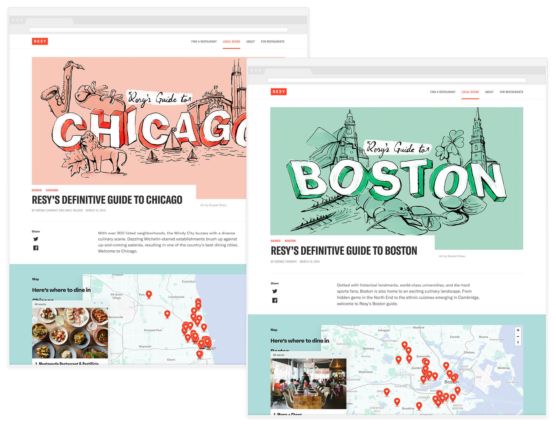Webpage mockups of the Resy Guides to Chicago and Boston with the artwork at the top of each article