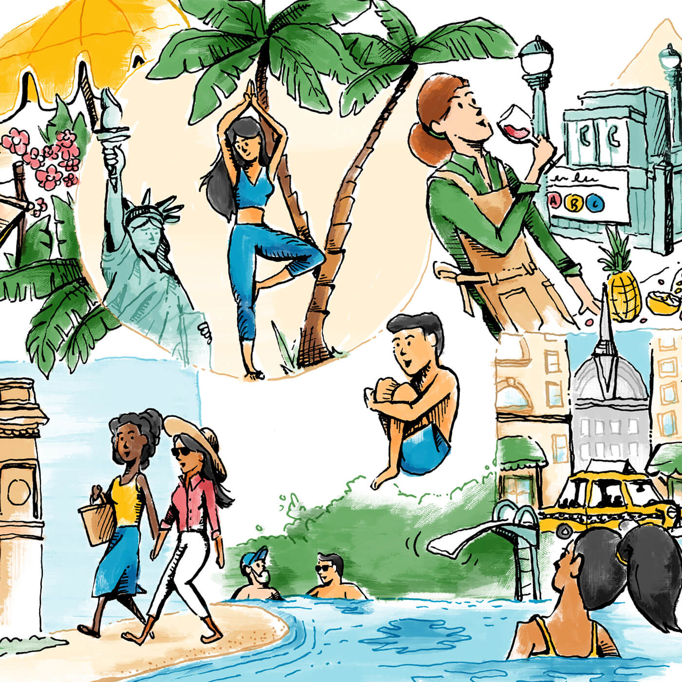 New York Magazine, Vacations - Illustrations for New York Magazine's series on tips and tricks for New Yorkers escaping winter in the city for warm, Caribbean vacations.IllustrationView Project →