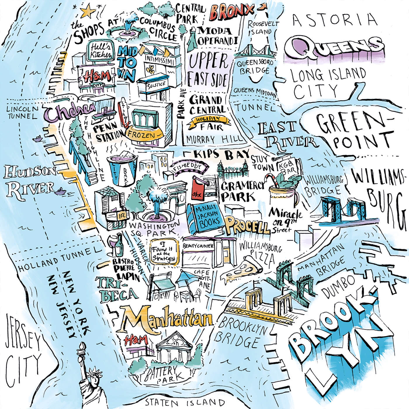New York Magazine, Holiday Maps - Interactive, hand-drawn maps that follow seven of New York's friends and staff around the city as they share their favorite holiday destinations and shops to celebrate the season.IllustrationView Project →