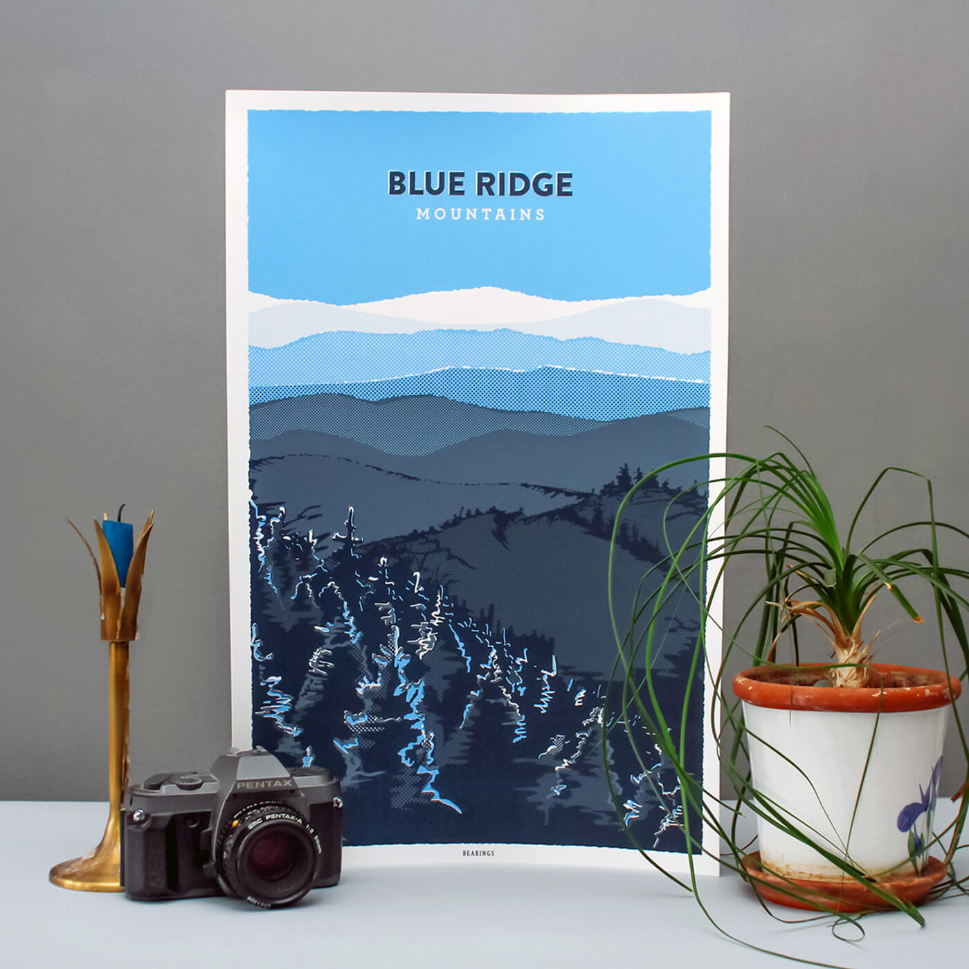 Blue Ridge Mountains Poster Print - A screen-printed poster illustrated to capture the rolling, gentle waves of the Blue Ridge Mountains.IllustrationView Project →