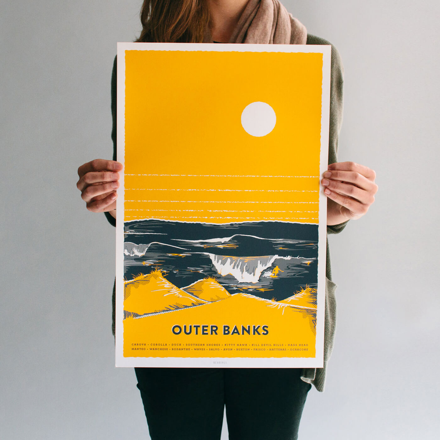 Outer Banks Poster Prints - Three custom prints celebrating the essence of the North Carolina barrier islands: the tallest dunes and some of the best surfing on the East Coast.IllustrationView Project →