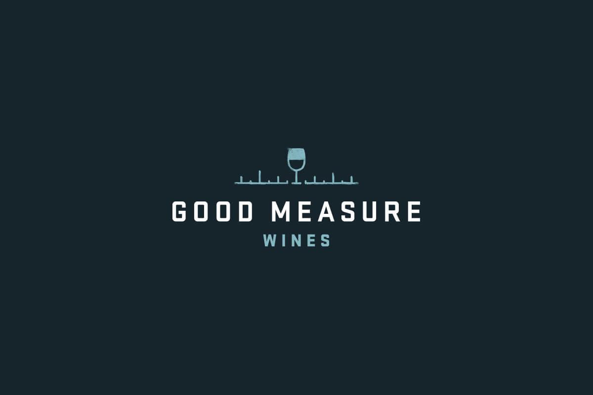 Good Measure Wines logo design, a wine glass on a measuring line