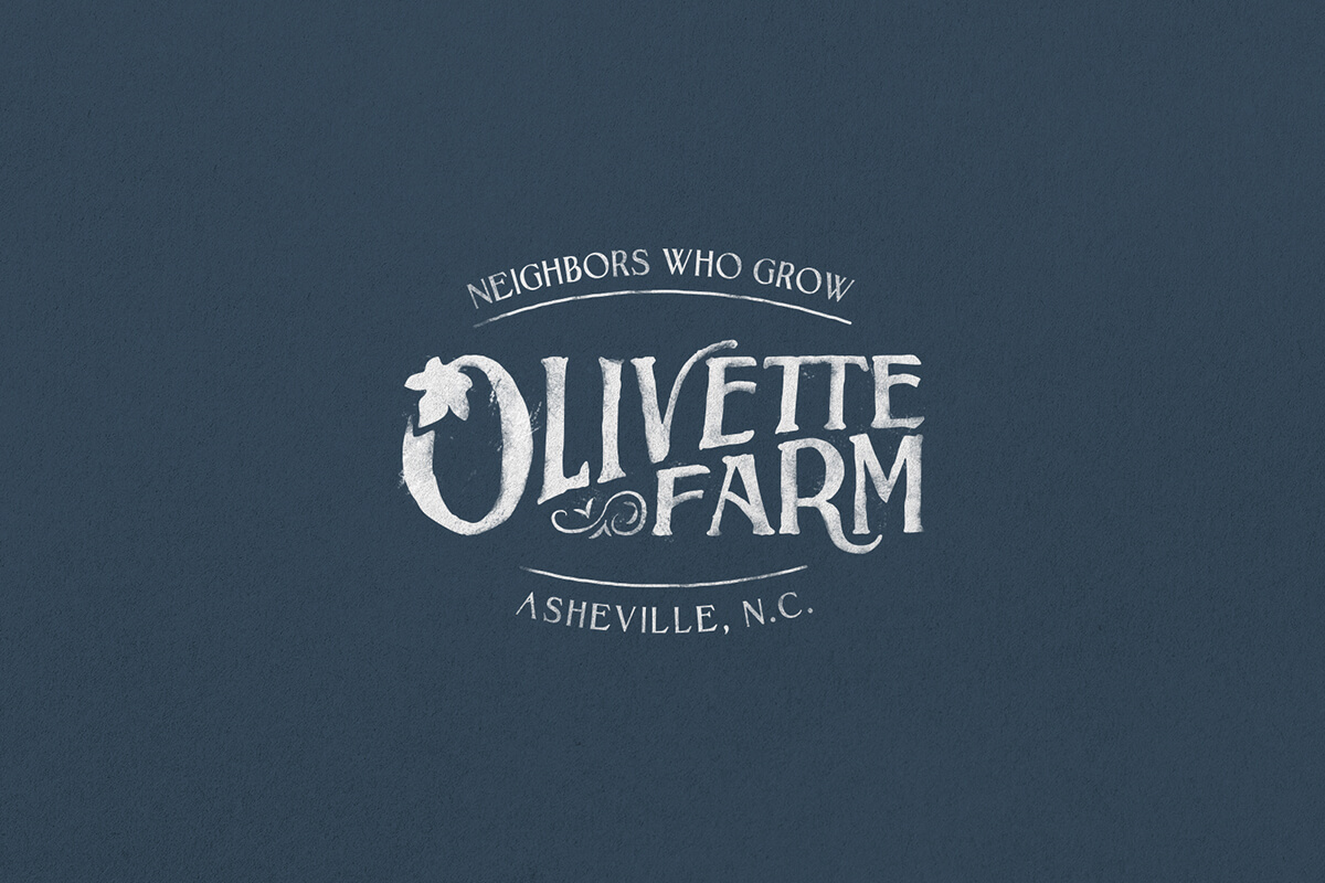 Olivette Farm logo design, hand lettering with an O that turns into a vine with a leaf