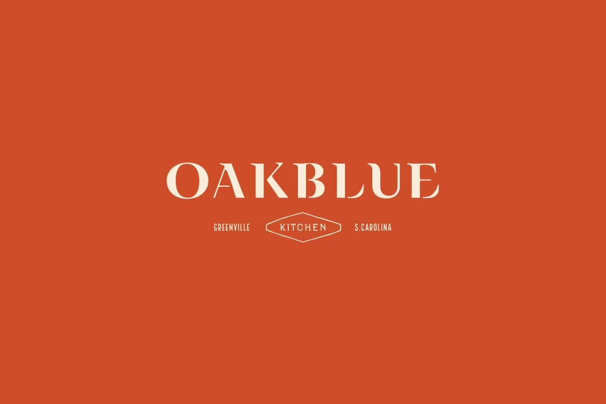 Oakblue Kitchen Greenville South Carolina restaurant logo design