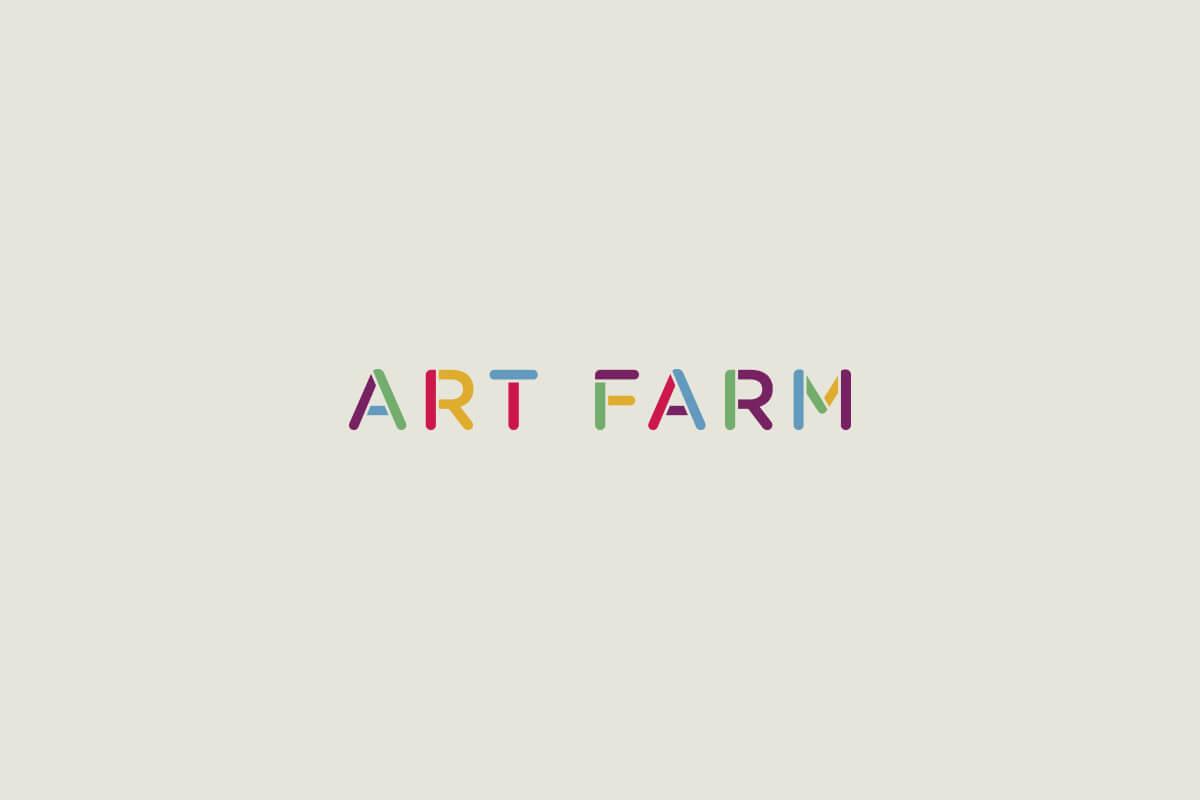 Serenbe Art Farm logo design, multi colored stencil letters