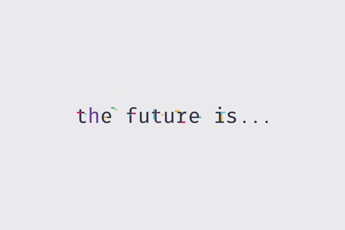 Slack's The Future Is… logo design, with multi colored tech glitches over a monospace font