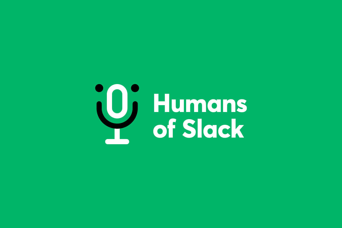 Humans of Slack podcast logo design, with a podcast microphone in the shape of a smiley face