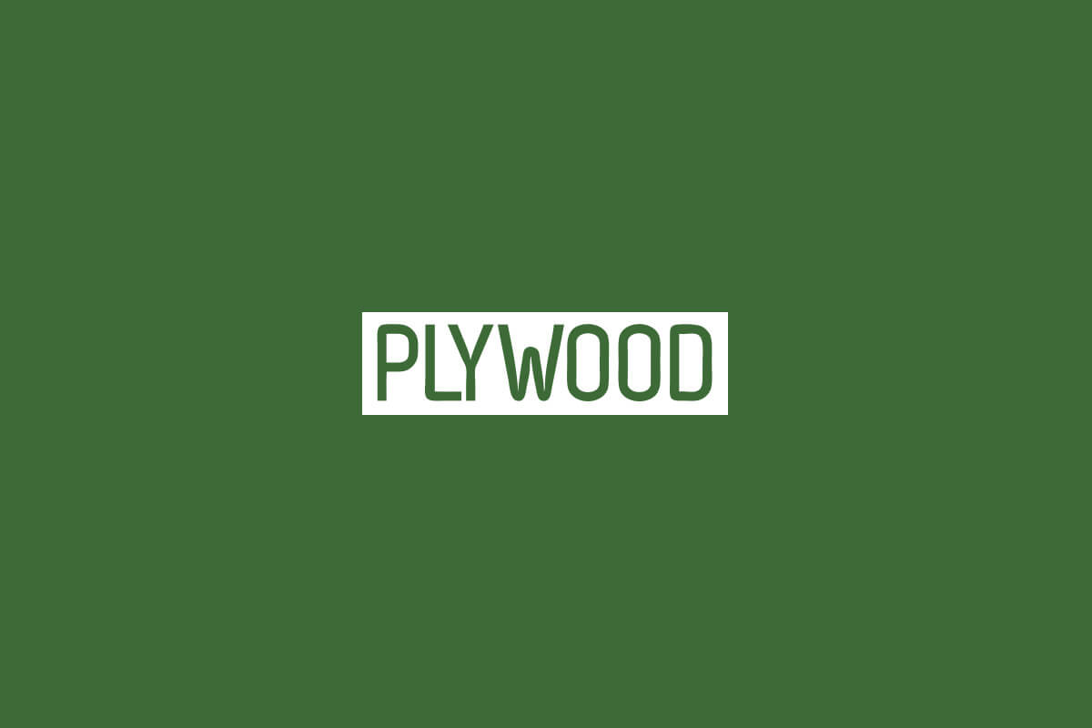 Plywood People logo design for a nonprofit in Atlanta, sans-serif letters in a white badge on a green background