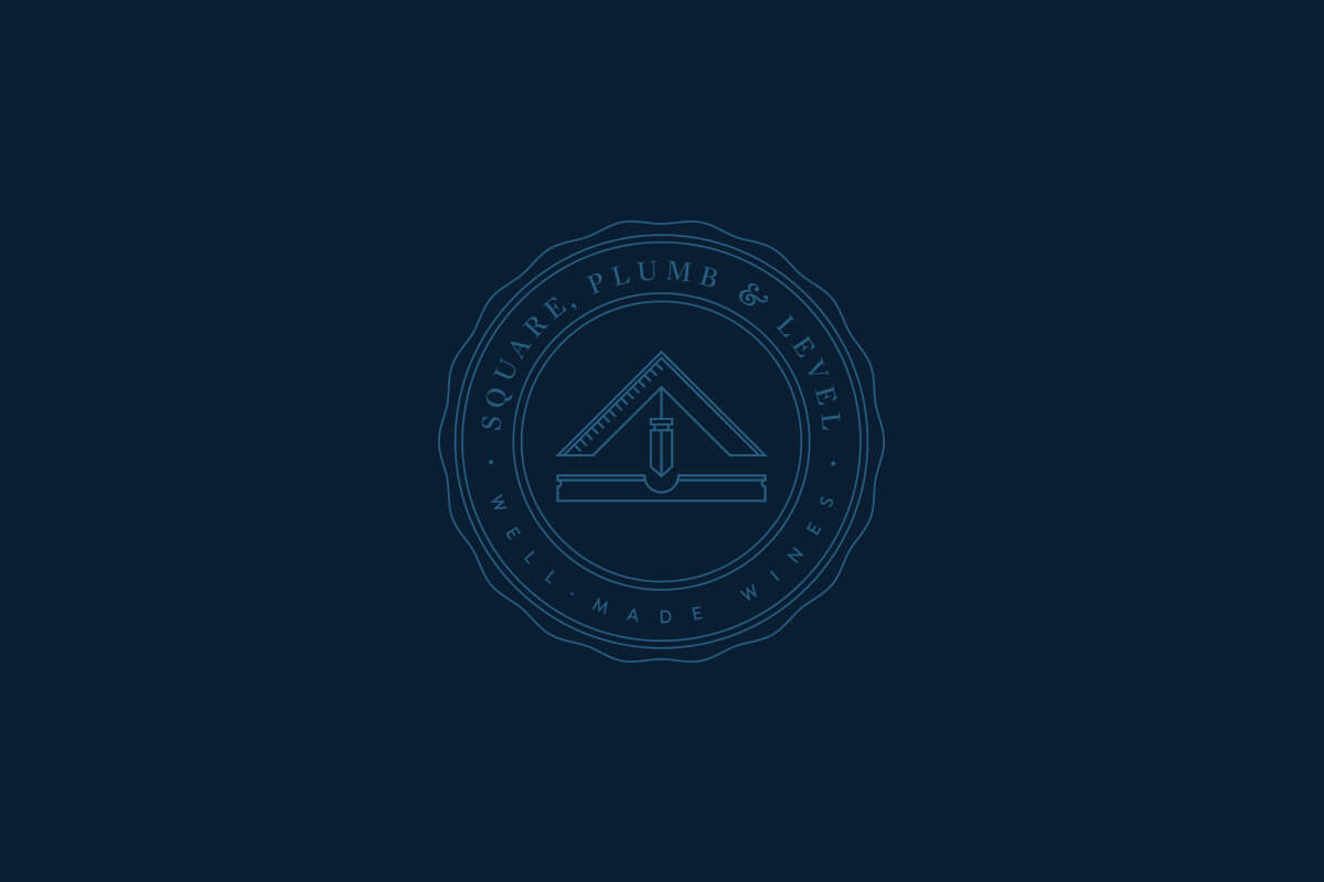 Square Plumb & Level wine logo design with the three tools in a shape in the middle of an elegant circular seal