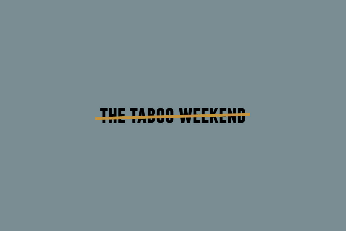 Serenbe Taboo Weekend event logo design with bold black letters crossed through with a gold line