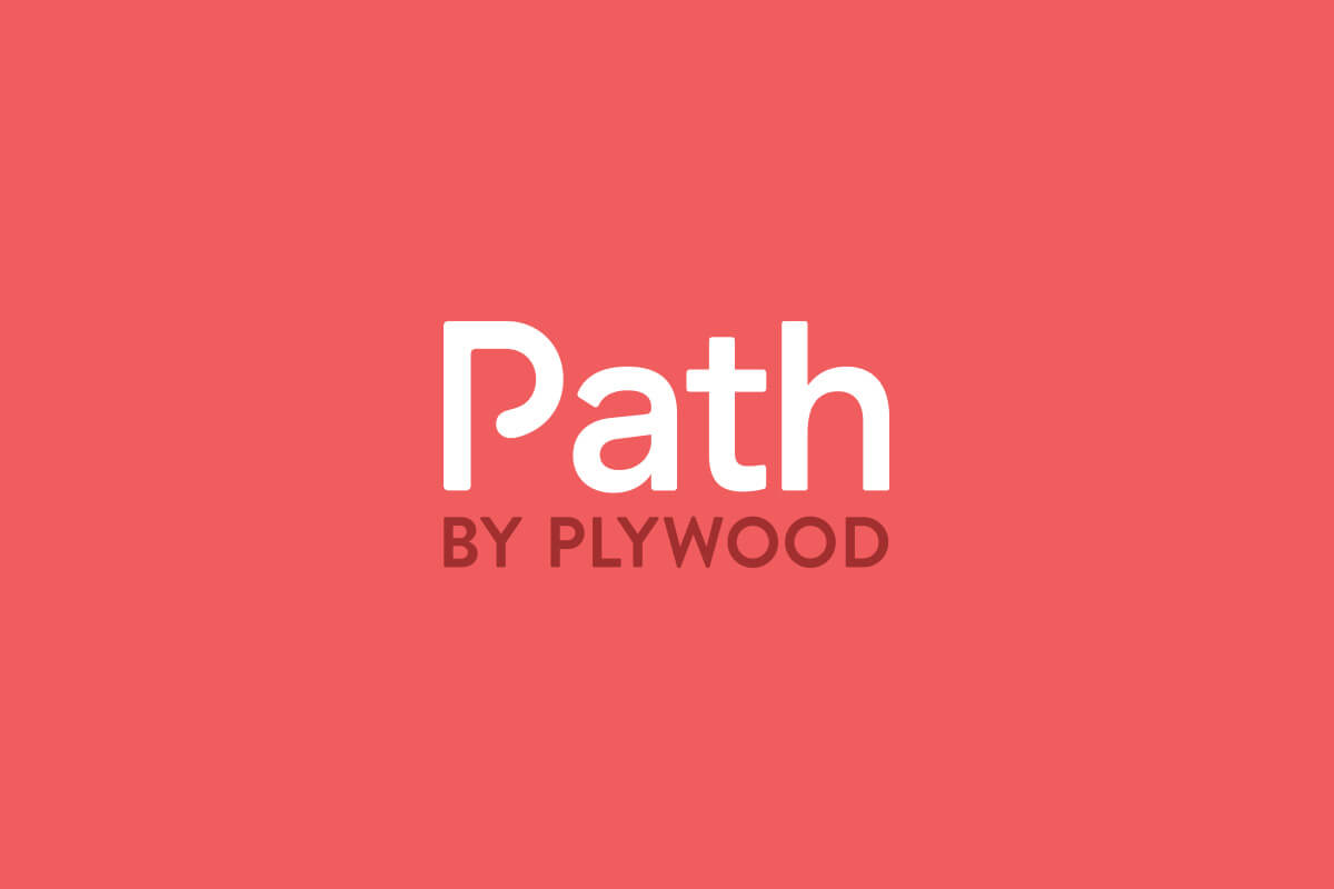 Path by Plywood logo design with a capital P that has a chasing line