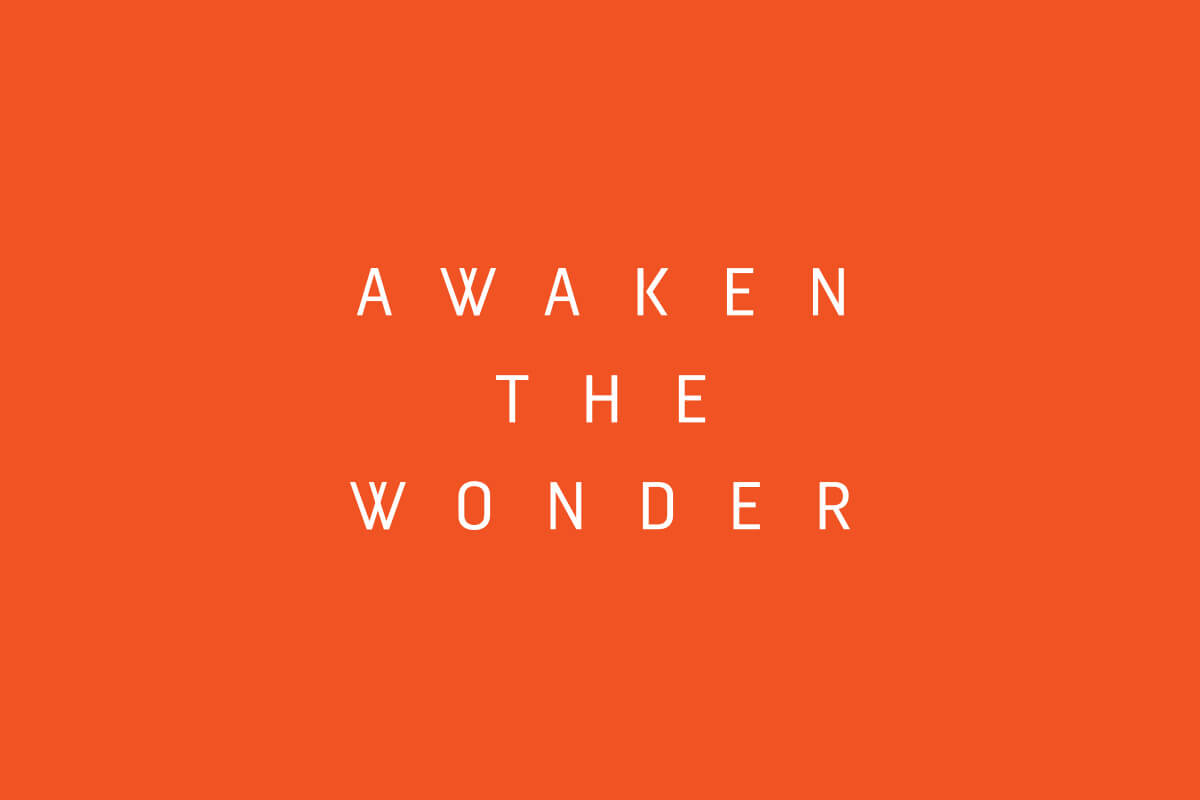 Catalyst Conference Awaken the Wonder logo design with wide tracked capital sans serif letters