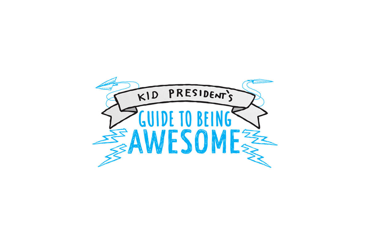 Kid President's Guide to Being Awesome book logo design with hand lettering and doodles of lightning bolts and paper planes