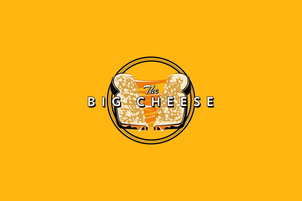 The Big Cheese food truck logo design with a grilled cheese being pulled apart in the center