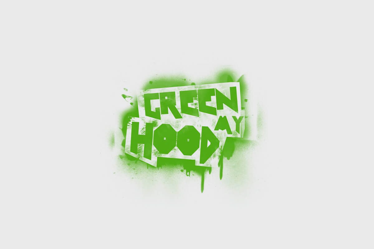Green My Hood logo design with spray-painted graffiti letters