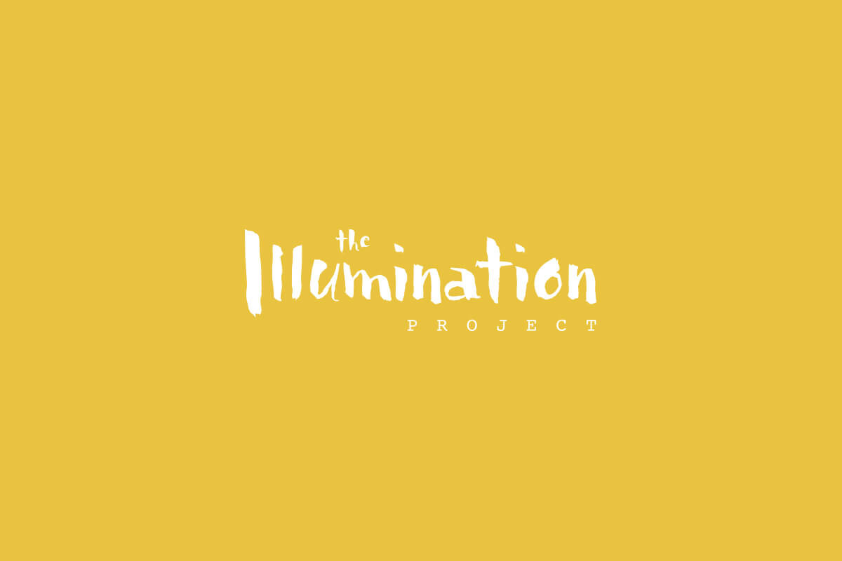 The Illumination Project logo design with hand lettered messy paint brush lettering