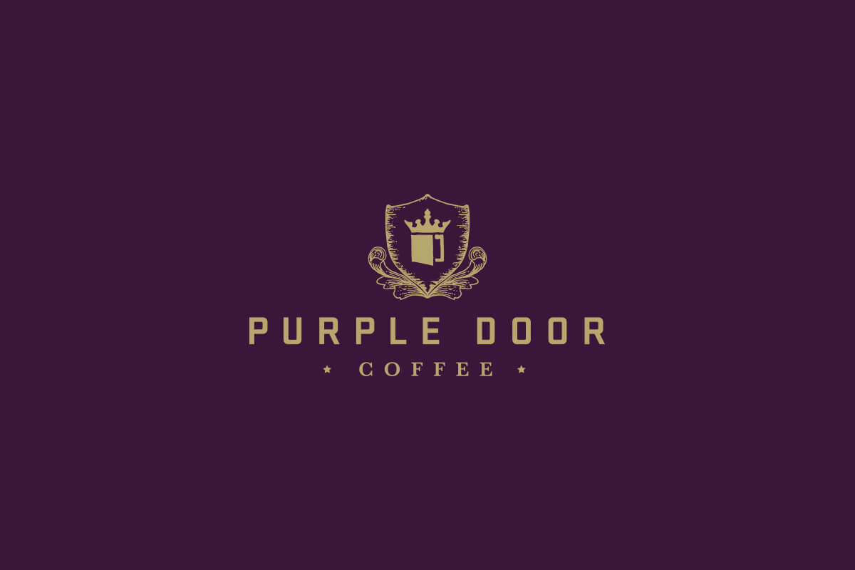 Purple Door Coffee shop logo design with hand drawn shield crest above bold industrial letters