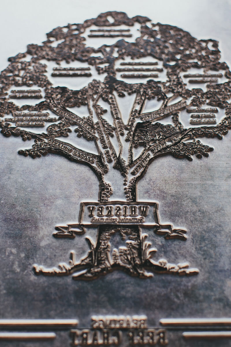 The actual letterpress plate for the Whiskey Family Tree fine art print, a metal plate that impressed the graphic design into the paper.