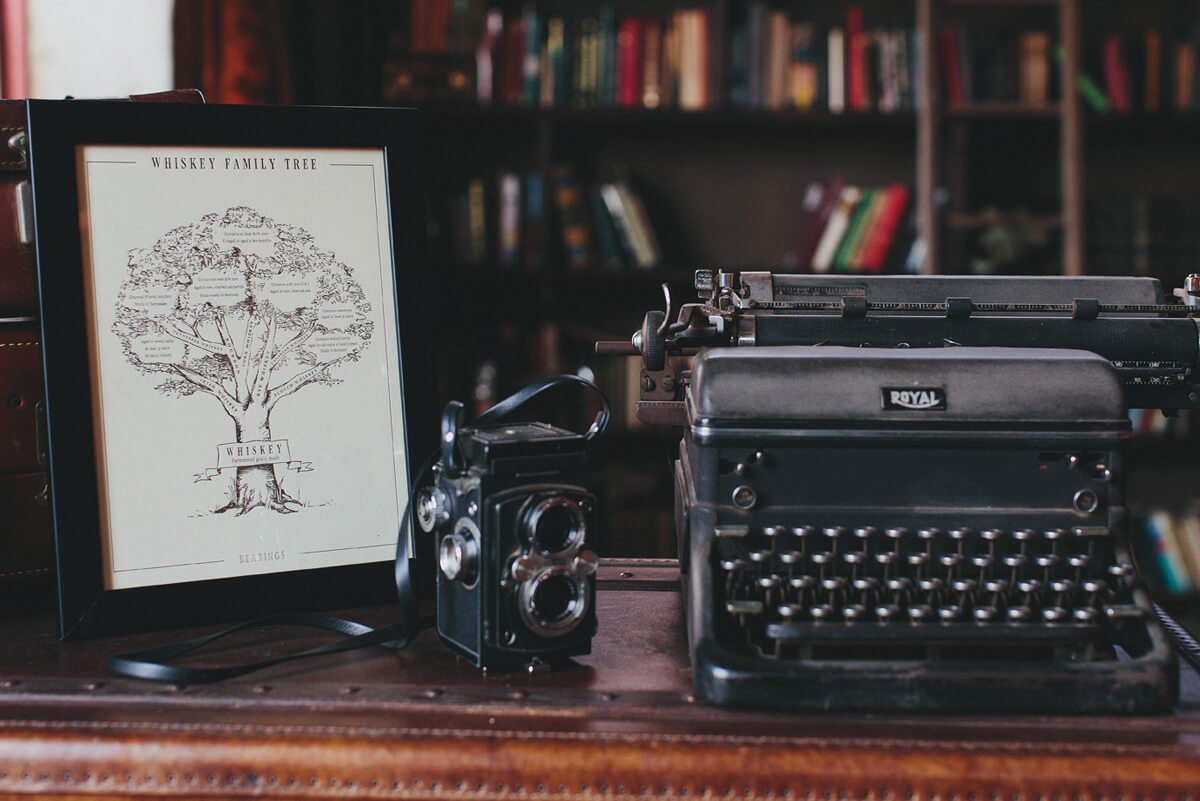 The whiskey family tree hand drawn illustrated infographic framed and on a shelf next to an old film camera and an old typewriter.
