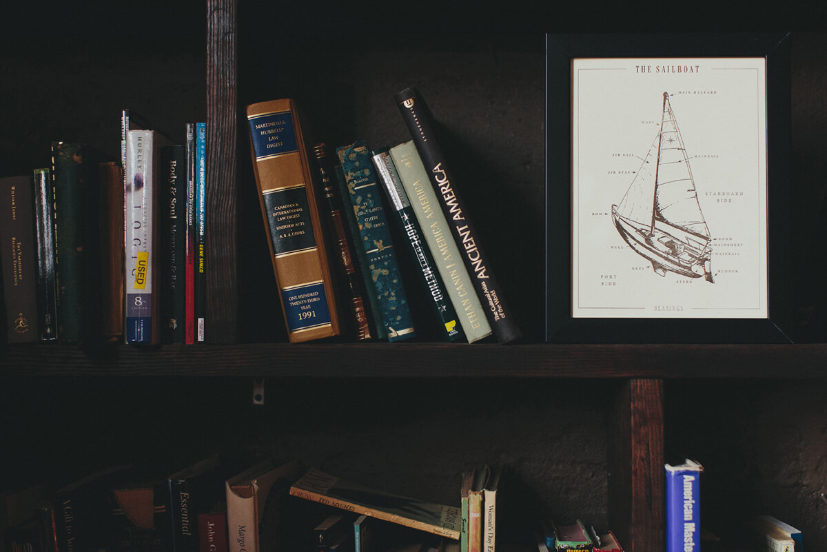 The parts of a sailboat illustrated infographic and fine art letterpress print design is framed in dark wood and on a bookshelf.