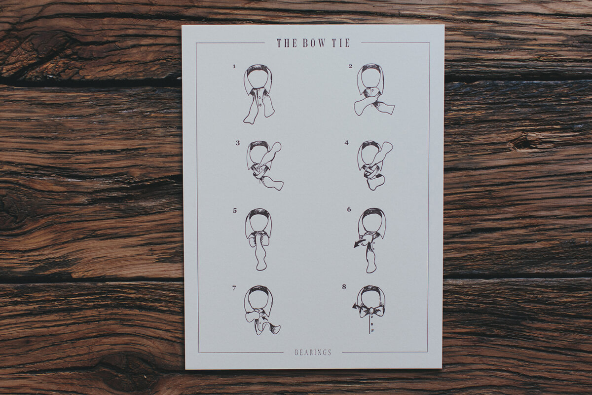 How to tie a bow tie handmade illustration and fine art letterpress print and poster design shows the step by step process for tying a bowtie.