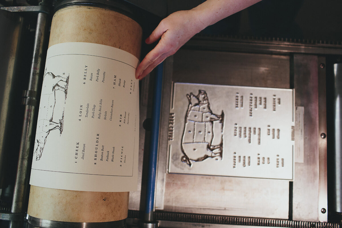Running the pork chart illustrated infographic through the letterpress machine off of the metal plate and onto the thick duplex paper for a fine art print.