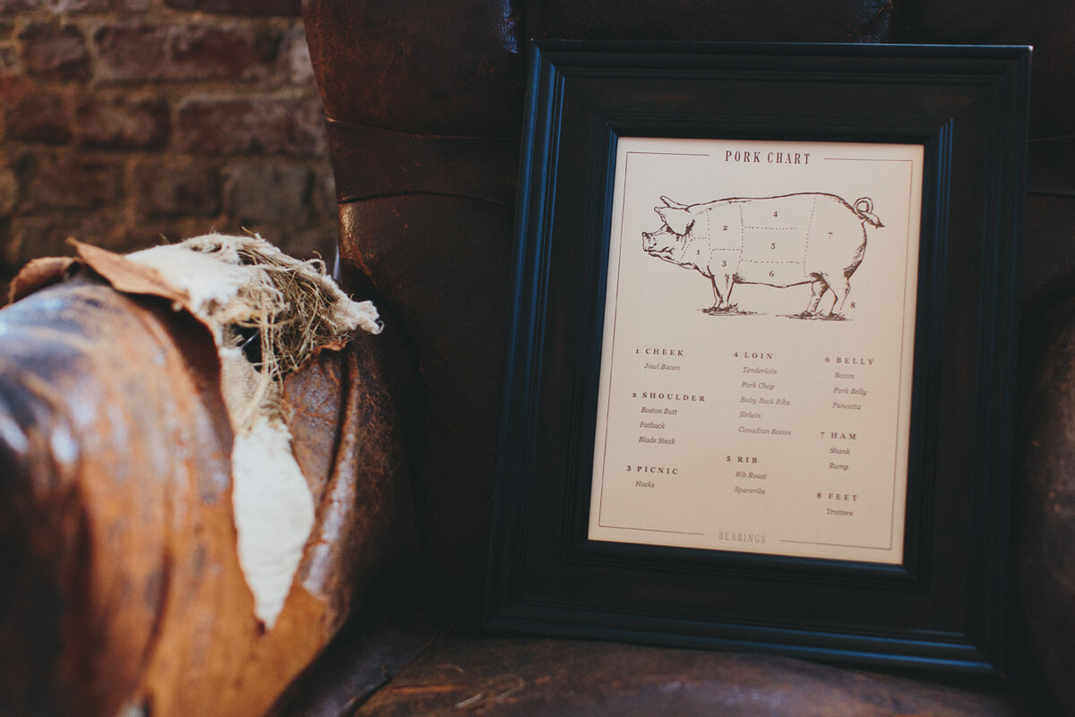 The cuts of pork letterpress illustration print design is framed in dark wood and sitting on an old tattered leather chair.