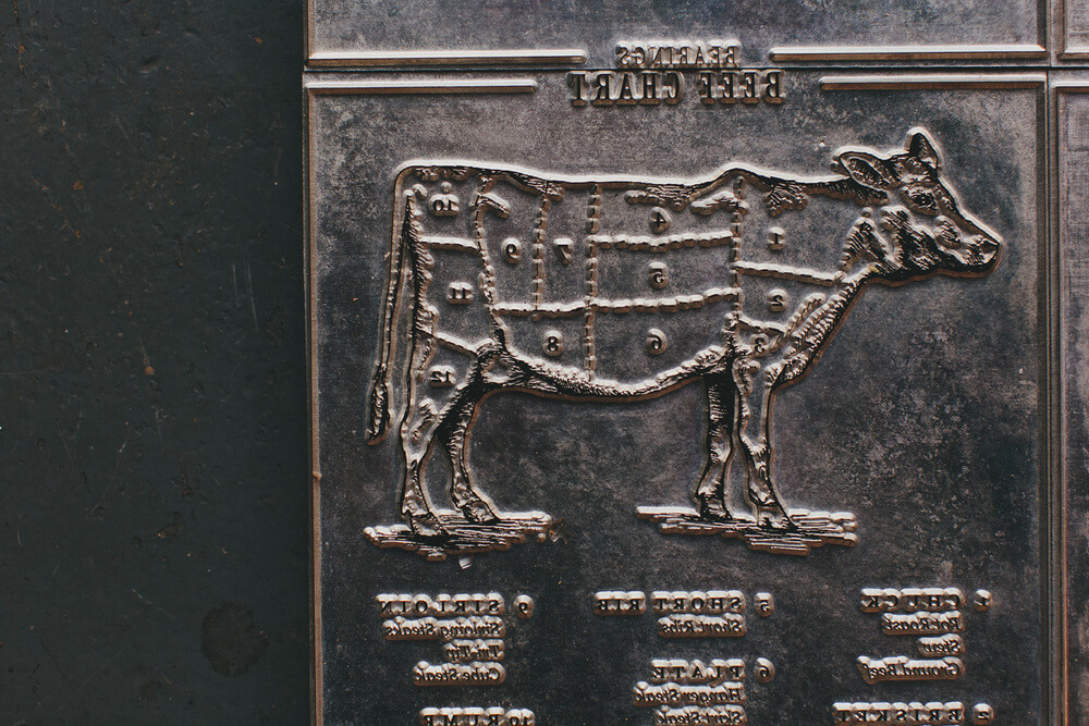 The original metal letterpress plate for the beef chart illustrated infographic.