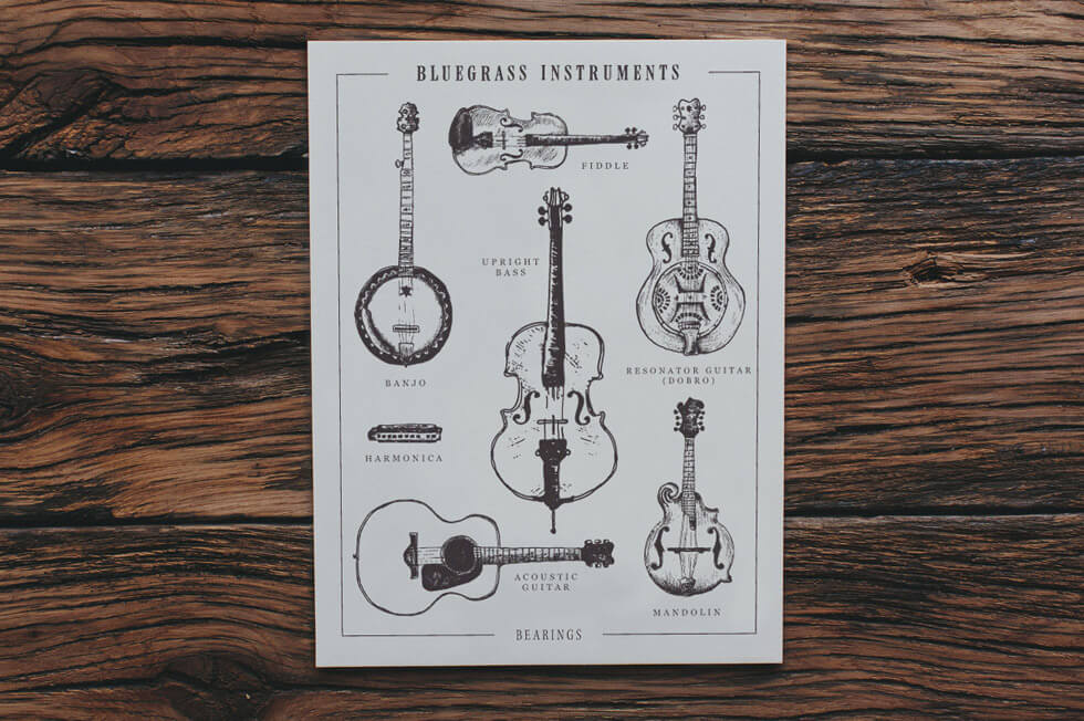 Hand drawn diagram illustration and infographic of the types of bluegrass instruments shows the banjo, the upright bass, the fiddle, the resonator guitar or dobro, the harmonica, the acoustic guitar and the mandolin, created by freelance graphic artist Russell Shaw for Bearings Guide's letterpress print series.