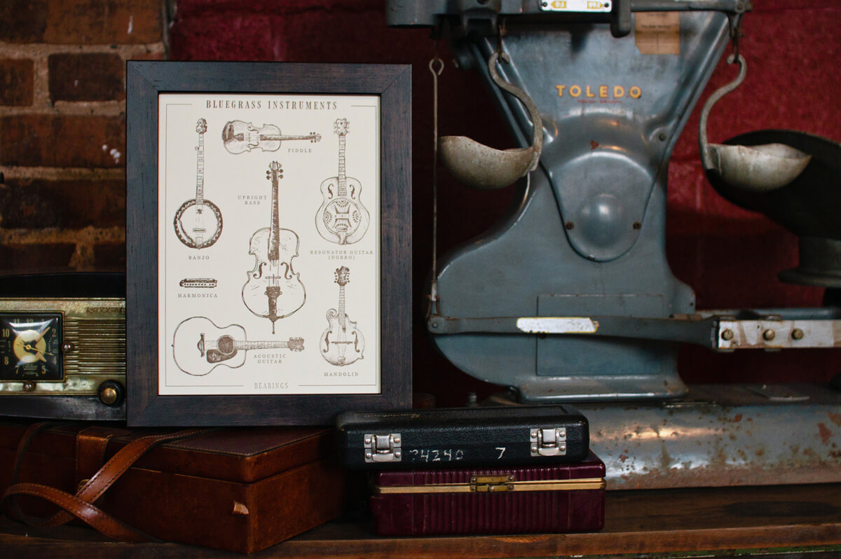 The Bearings Guide Bluegrass Instrument letterpress fine art print and poster graphic design illustration framed in a dark wood frame and sitting on a shelf next to an old radio.